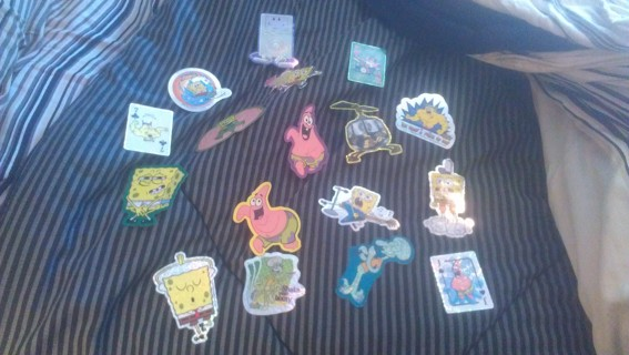 15 Spongebob SquarePants Large Stickers + Two Large Smiley Face Stickers (Tiered Auction)