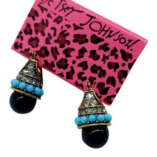 Betsey Johnson drop earrings gold tone crystals in black  NEW free ship