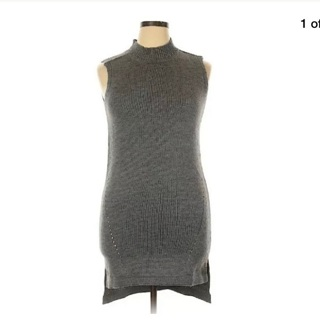 BNWT Charcoal Heather Gray Hi Lo Acrylic Ribbed Sweater Tunic Dress - Size XL