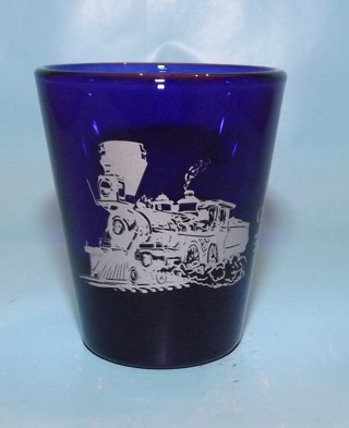 Locomotive Train Cobalt Blue Shot Glass Nevada State Railroad Museum Carson City, Nevada