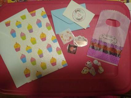 Kawaii Cupcakes Birthday Card + Bonus Stamp & Stickers