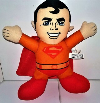 "2016 DC Super Friends SUPERMAN stuffed character doll - 8"" tall - VG condition"