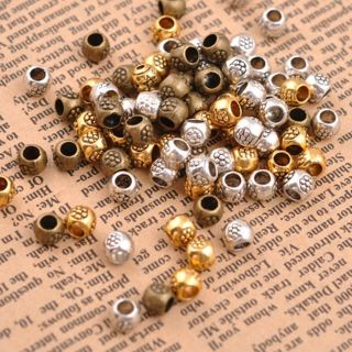 100Pcs Antique Tibetan Silver Round Charm Spacer Beads 3MM Hole