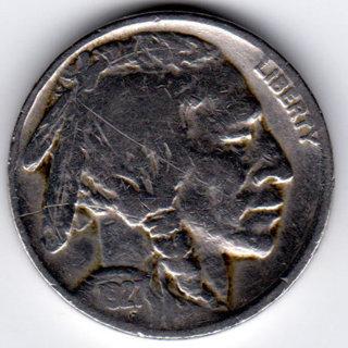 Vintage 1927 Buffalo Indian Head Nickel U.S. 5 Cent Coin