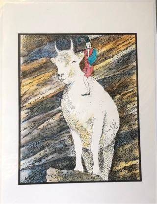 "Goat Fantasy Art - 5 x 7"" Art Card by Nina - GIN ONLY"