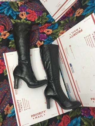 Women's Black High Heel Boots Size 10