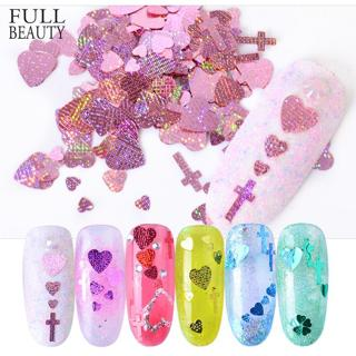 Full Beauty Nail Sequins Colorful Heart Cross Shape Nail Art Flakes 3D Shiny Paillettes Glitter De
