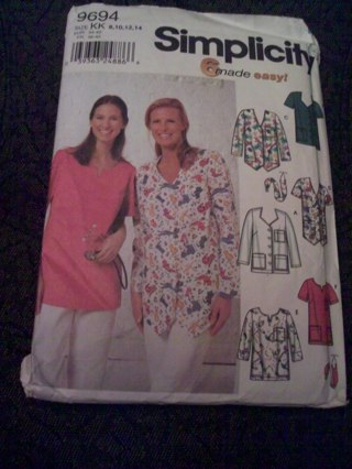 Free: Scrub Top for Ladies Sewing Pattern Simplicity 9694 8, 10, 12 ...