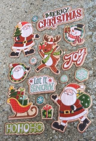 CHRISTMAS POP UP PLASTIC STICKERS LOT 4