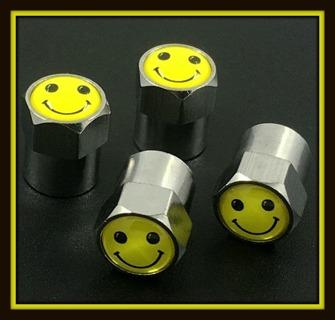 4-Piece Set HAPPY FACE EMOJI Tire VALVE Stem CAPS! Brand NEW!