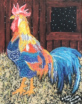 The Barn Rooster Painting Print by Kathy Marrs Chandler