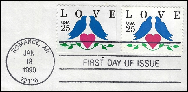 1990 USA FDC LOVE--get it for your sweetie for Valentine's Day--featuring Romance, AR, Scott #2441
