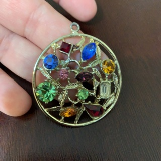 Vintage Rainbow Gem Silver Tone Pendant! Beautiful Piece!