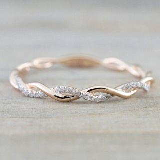 Women Fashion 14K Solid Rose Gold Stack Twisted Ring Wedding Party Women Jewelry
