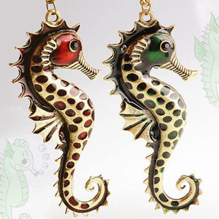 2x Enamel Bronze Seahorse Pendant Necklaces