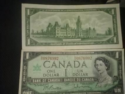 Very last of the Canadian dollar bills.