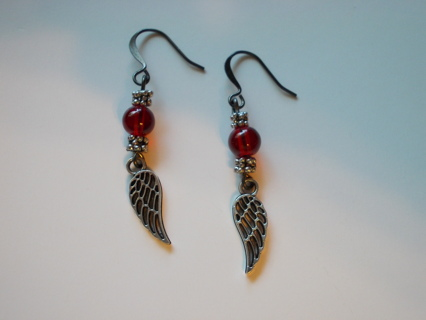 ANGEL WINGS Earrings NEW Handmade Red Beads