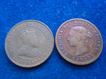 1884 & 1902 OLD CANADA PENNY'S FULL DATES!