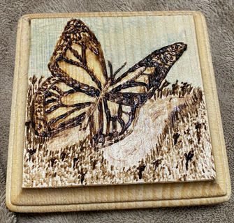 "Handmade Pyrography (Wood Burning) Art by Detrick Martin ""Butterfly"""