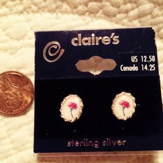 """Sterling Silver """"rose portrait"""" earrings"""