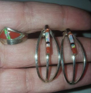 Carnelian, Opal Inlay, Onyx and Sterling Earring and Ring Set