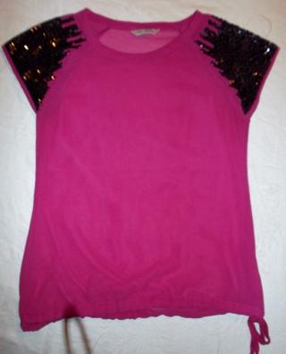 Ladies Jr Top sz. M, Sheer hot pink w/sequins!