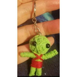 Green Voodoo doll keychain with few drops of money oil New free ship attract abundance