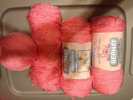 Pink Bernat baby yarn- 4 Skeins