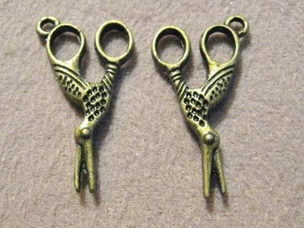 4 Bronze Pewter Bird Scissor Charms ~ Gin