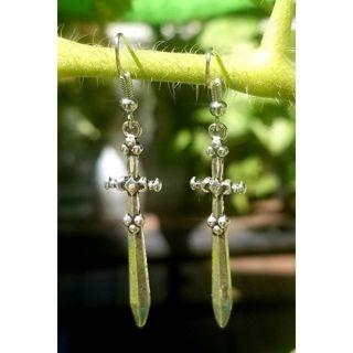 Silvertone swords drop earrings New free ship