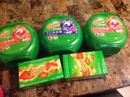 Gain pods and gain dryer sheets