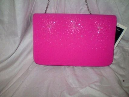NWT WOMENS ST. ANTHONY EVENING BAG PURSE PINK WHITE STARBURSTS SHOULDER CLUTCH
