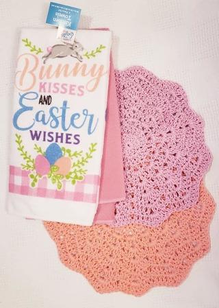 "Crochet 2 - 9"" Dish Cloth/Wash Cloths/ 2 MICROFIBER KITCHEN TOWEL"