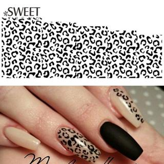 1Sheet Sexy Leopard Nail Art Water Transfer Stickers Black/White Full Wraps Manicure Tools Waterma
