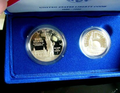 US Mint Proof Set of Statue Of Liberty Coins 1886-1986  90% Silver Silver Dollar & Clad Half Dollar