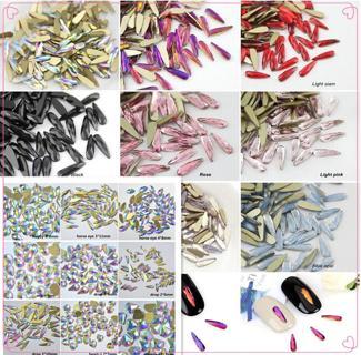 50 pcs Small Nail Art Shape Top Crystal AB Czech Crystal Rhinestone Flatback #03