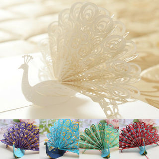 [GIN FOR FREE SHIPPING] Peacock 3D Pop Up Greeting Card Birthday Anniversary