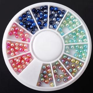 2 Wheel Nail Art Decoration Multi-Color Rhinestone Acrylic Glitter Round