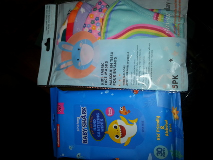 New kids masks and hand wipes