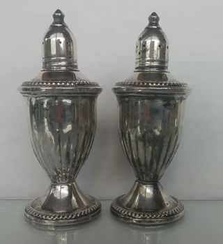 Sterling Silver  Antique / Vintage Duchin Creation Salt and Pepper Shakers.  1940s USA