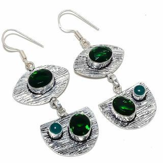 PRETTY EMERALD QUARTZ GEMSTONE EARRINGS