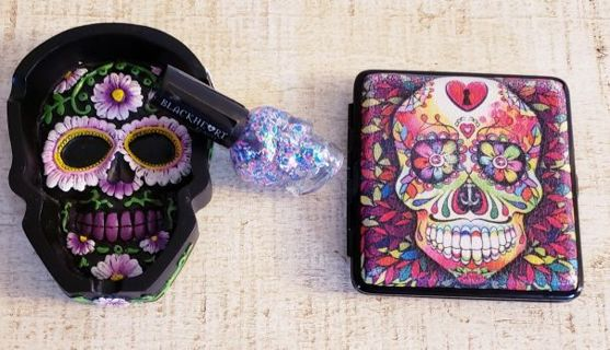3pc Sugar Skull Lot! Ashtray, Cigarette Compact w/ Rechargeable Lighter & Nail Polish!