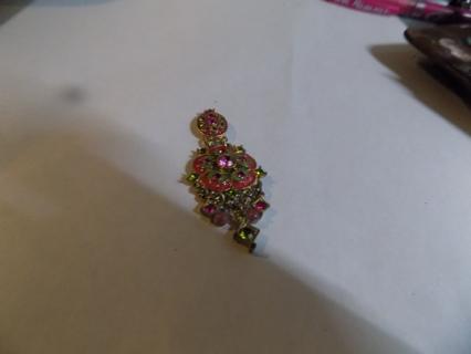 Pink and green jeweled dangle embellishment