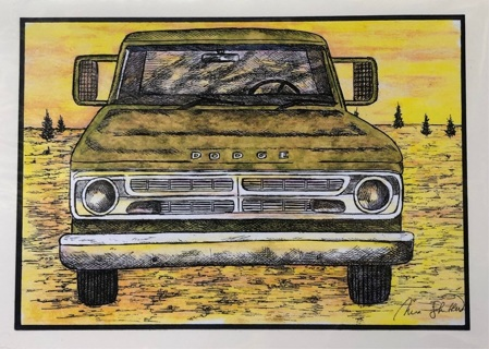 """Green Dodge truck 1970 - 5 x 7"""" art card by artist Nina Struthers - GIN ONLY"""