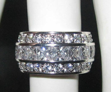 infinity ring white gold plate eternity cz wide band quality NWT 4 5 6 7 8 9 10