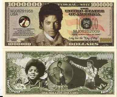 Micheal Jackson  Novelty Million Dollar Bill-NEW -Free Ship