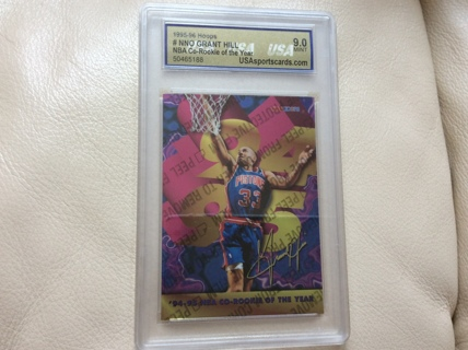 Free Graded Grant Hill Co Rookie Of The Year 1995 96 Hoops