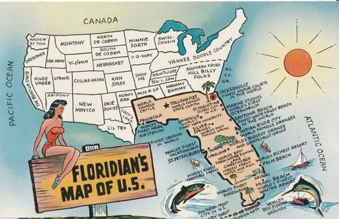 Vintage Unused Postcard: Floridian's Map of the US