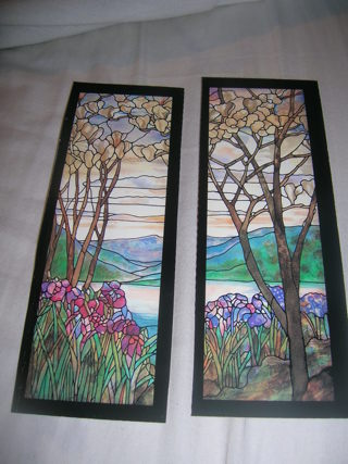 2 Tiffany look book marks with flowering magnolias