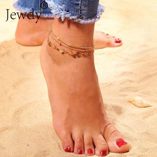 3PCS/SET Sequins Anklet Set For Women Beach Foot jewelry Vintage Statement Anklets Boho Style Party